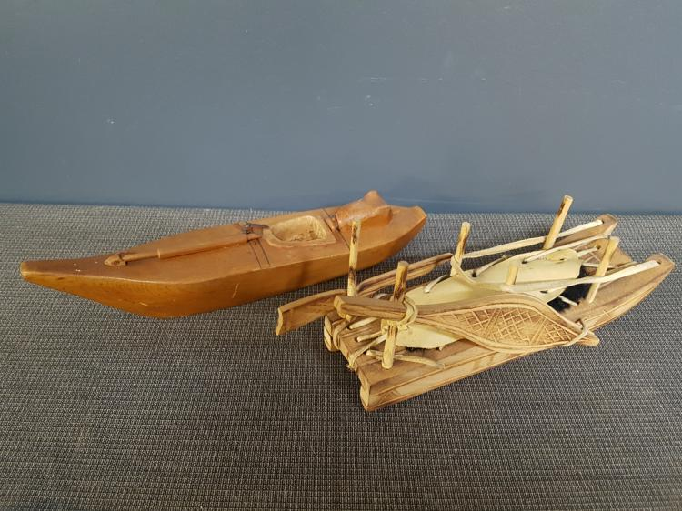 Lot of Inuit Carved Boats