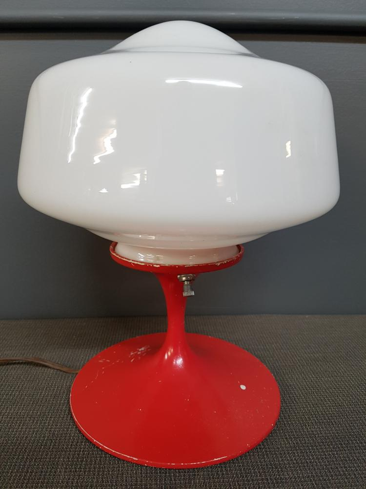 Small Vintage Red Lamp with Schoolhouse Globe