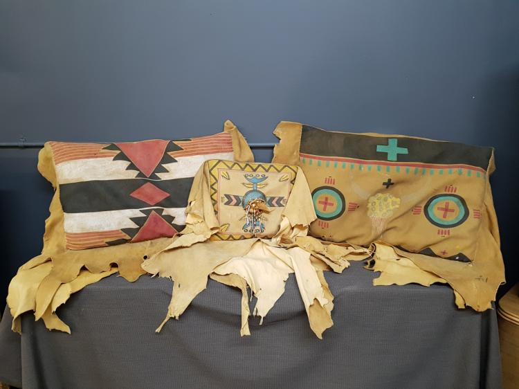 Set of 3 Navajo Buck Skin Pillows, Painted and Beaded