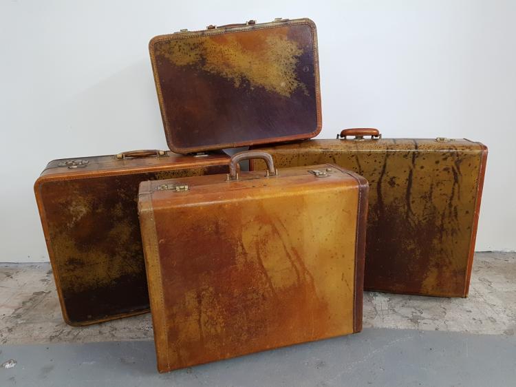 Lot of 4 Vintage Pigskin Suitcases