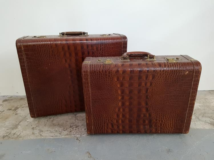 Lot of Two Faux Alligator Suitcases