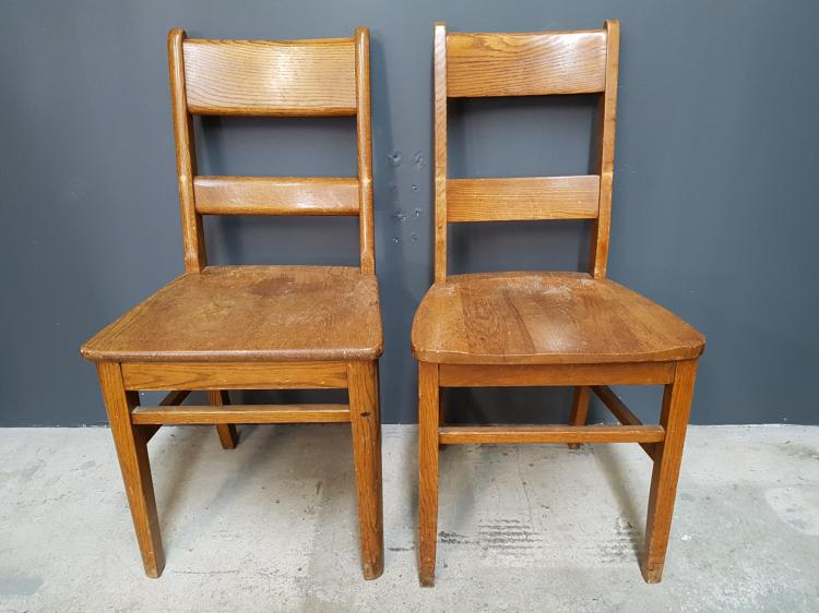 Near Pair of Vintage Solid Oak Office School Chairs with Round Edged Splats