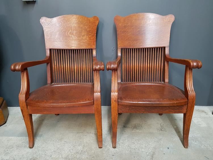 Pair of Victorian Spindle Back Oak Armchairs with Beaded Design