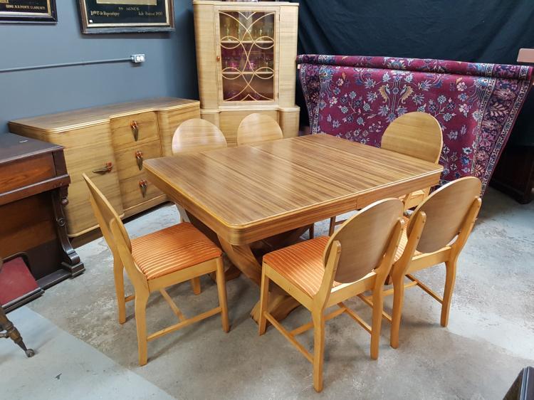 Outstanding Art Deco Zebrawood Dining Suite with Original Orange Bakelite Handles