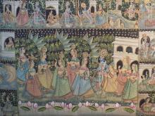 Large 1950s Original Hindu Painting on Cotton