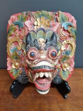 Southeast Asian Bali Hand Carved Dragon Mask Hand Painted