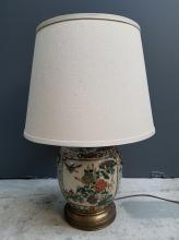 Chinese Antique Famille Verte Pottery Lamp with Hand Painted Stork Floral Panels