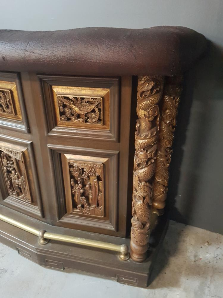 Mid century asian inspired carved wooden bar for Oriental wood carved furniture