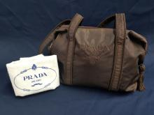 Vintage Brown Prada Nylon Tassle Purse