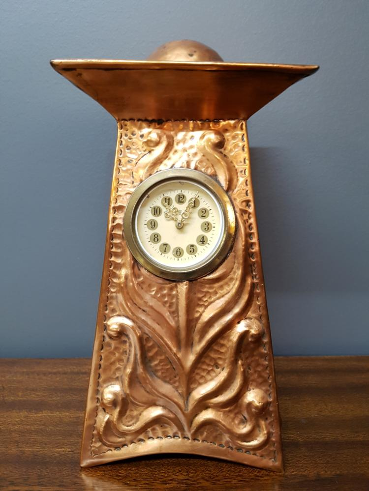 Arts and crafts copper repousse mantle clock for Arts and crafts mantle clock