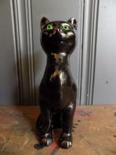 Black Pottery Figure of a Sitting Cat with Green Glass Eyes, c.1900