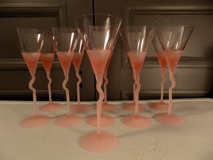 Set of 11 Czech PInk Frosted Martini Glasses