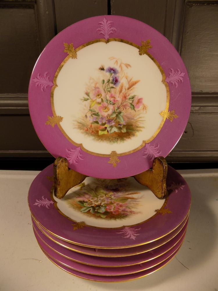 Lot of 6 Hand-Painted Floral Plates