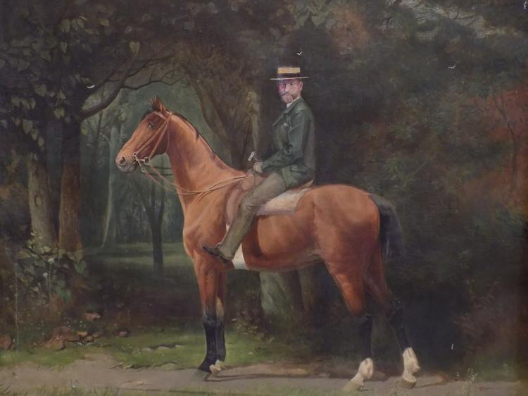 Victorian Oil Painting of a Gentleman on Horse