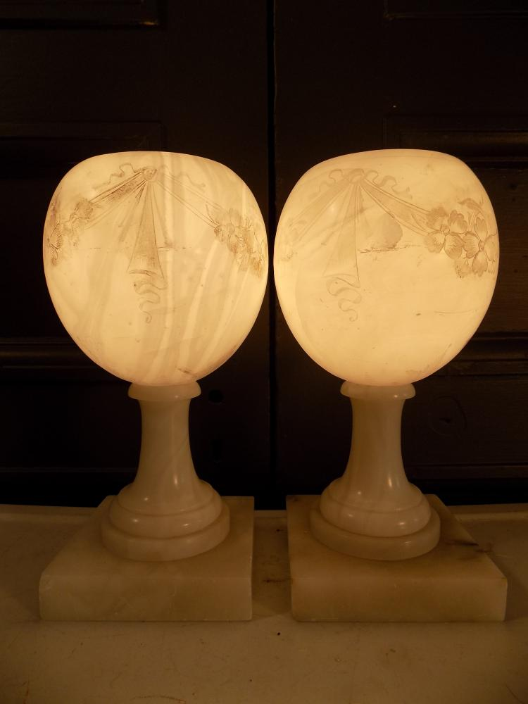 Pair of Alabaster Etched Urn Lamps