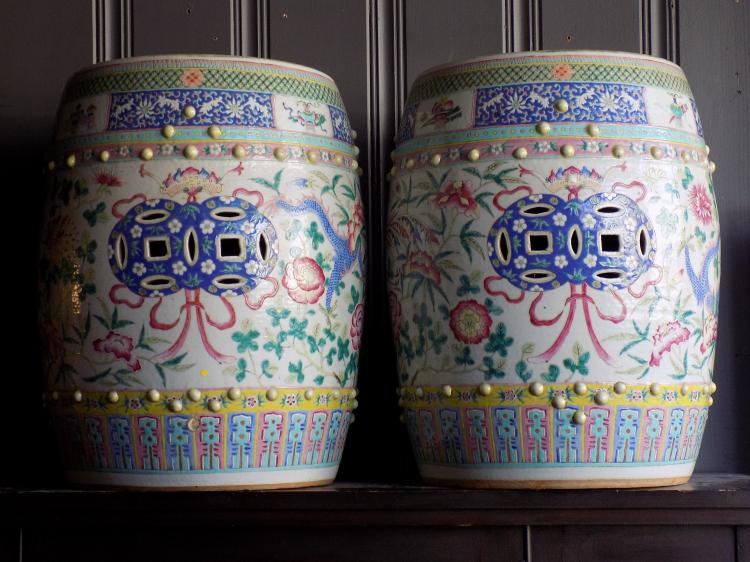Pair of Antique Chinese Qing Jardiniere Stools
