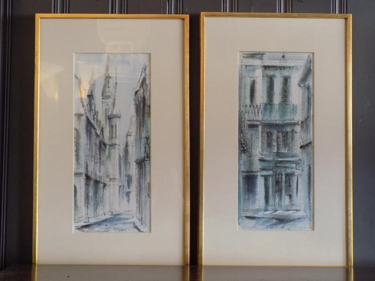 Pair of Signed Mixed Media Street Scenes