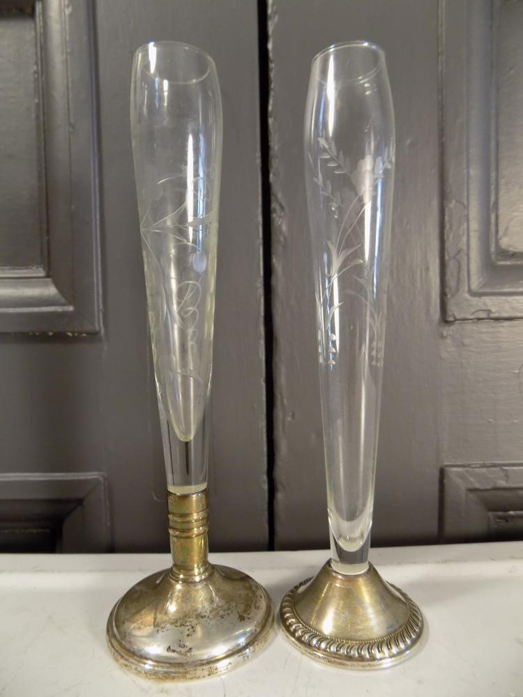 Two Etched Glass Bud Vases