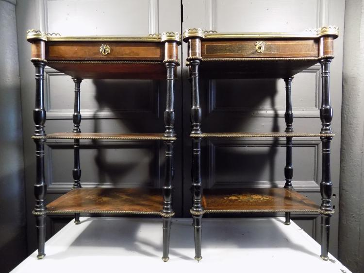 Pair of French 3-Tiered Marquetry Ebonized End Tables
