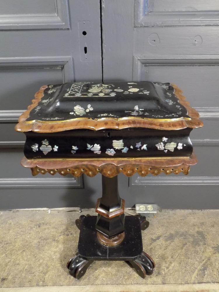 Antique Mother-of-Pearl Inlaid Sewing Box
