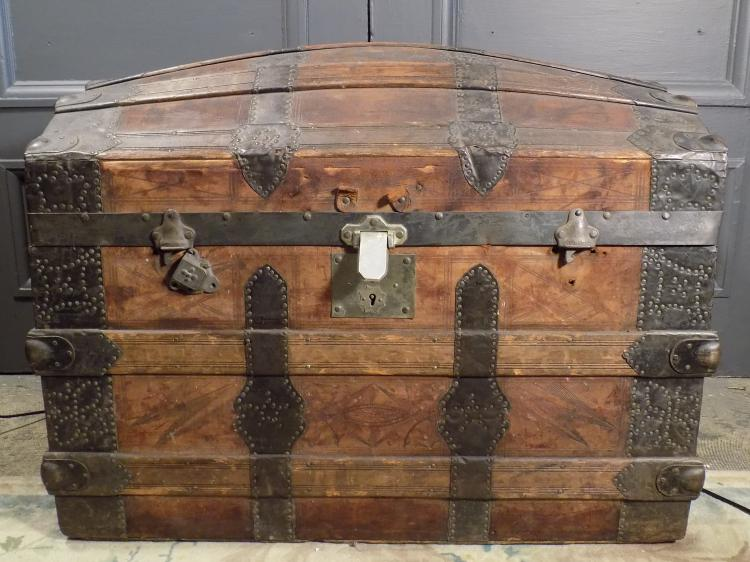 Leather Wood and Metal Humpback Trunk