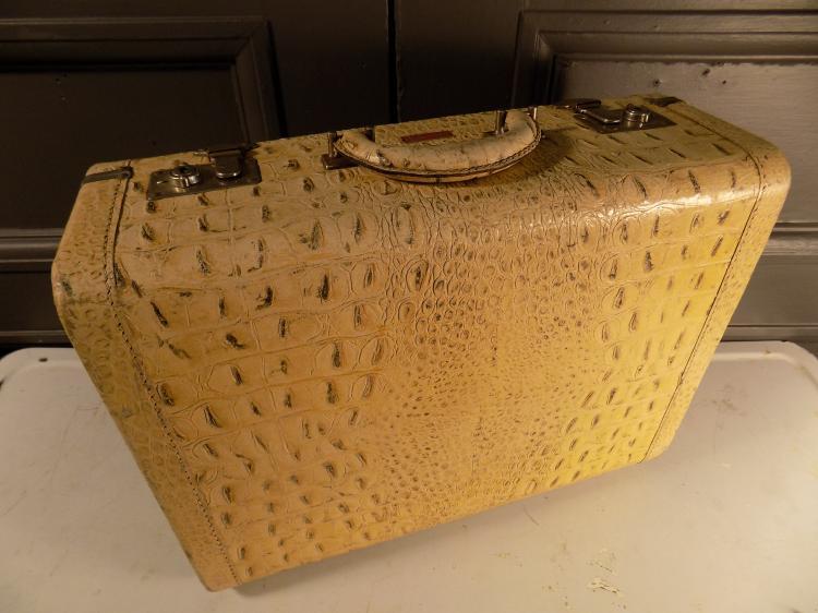 Leathermaster Faux Albino Gator Skin Suitcase