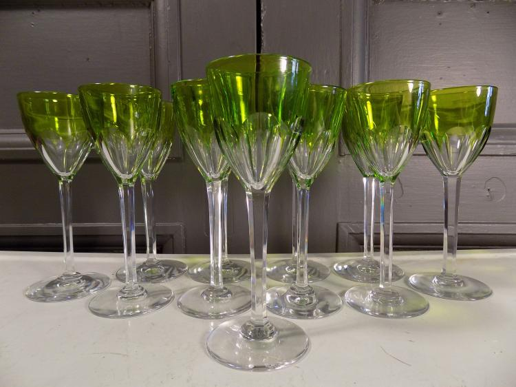 11 Baccarat Green Crystal Wine Glasses