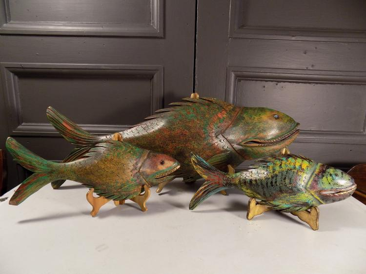 Three Carved and Painted Wooden Fish