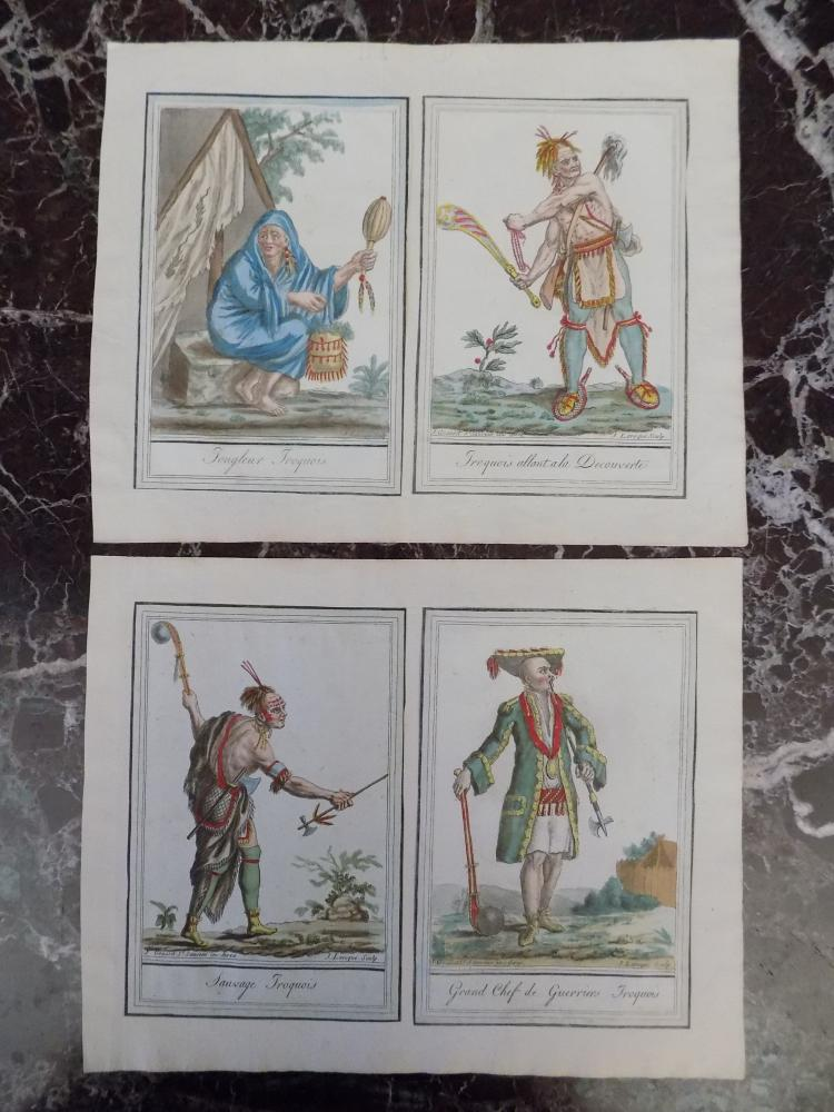 Four Colored Iroquois Engravings by J. Laroque