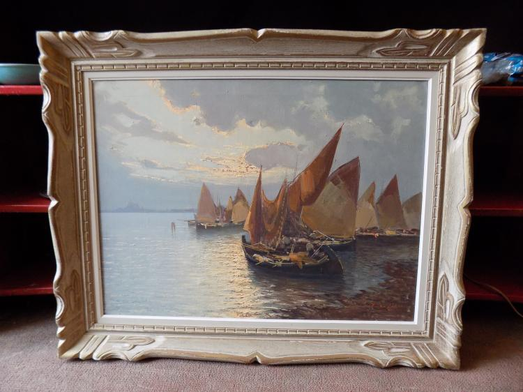 Large Signed Harbour Scene Oil Painting