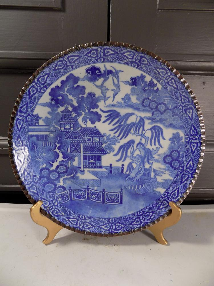 Japanese Blue and White Willow Pattern Plate