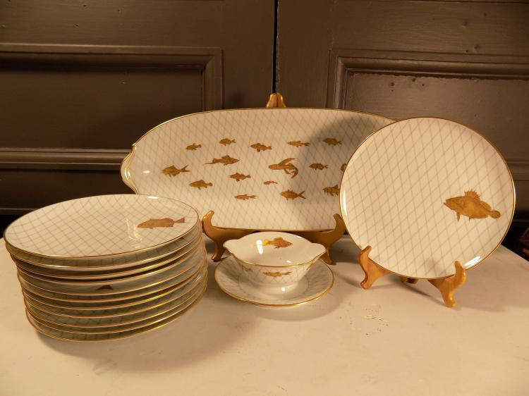 Limoges J. Bernardaud and Co. 14-pc Fish Set