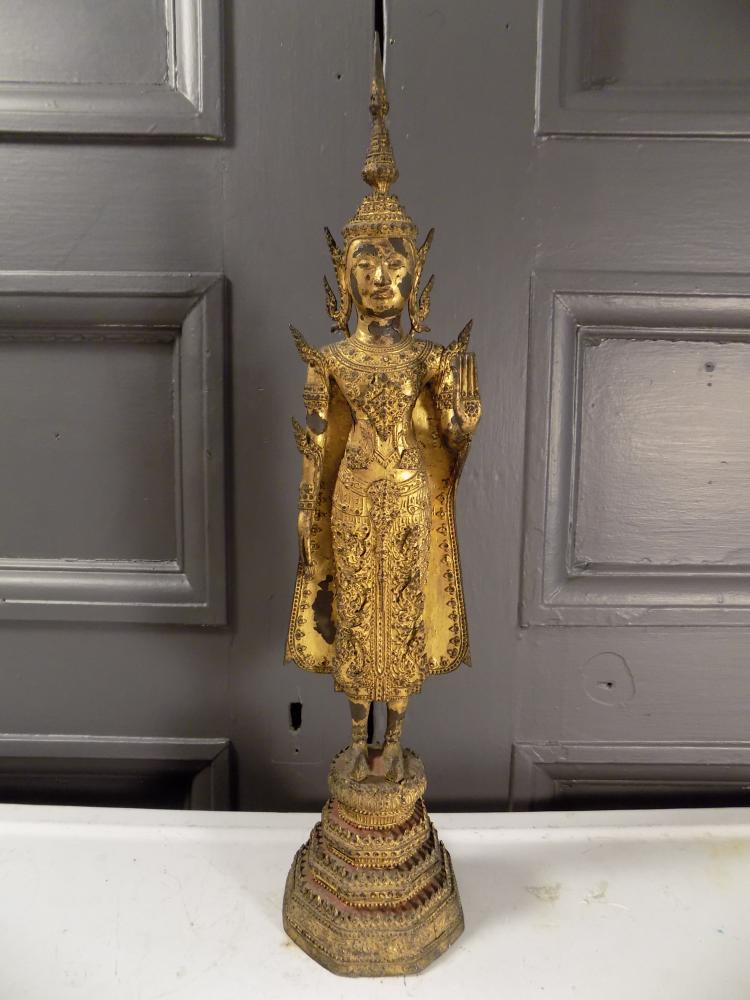 Gilt Bronze Thai Buddha with Red Lacquer Base