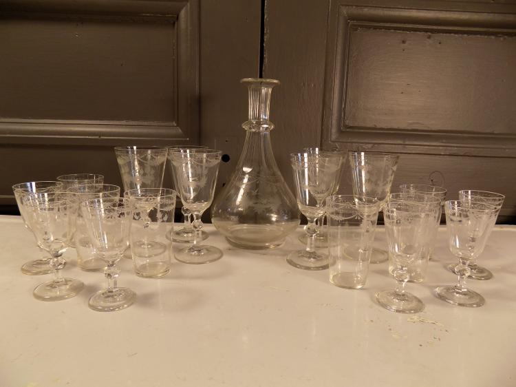 Antique Etched Bavarian Glasses with Decanter