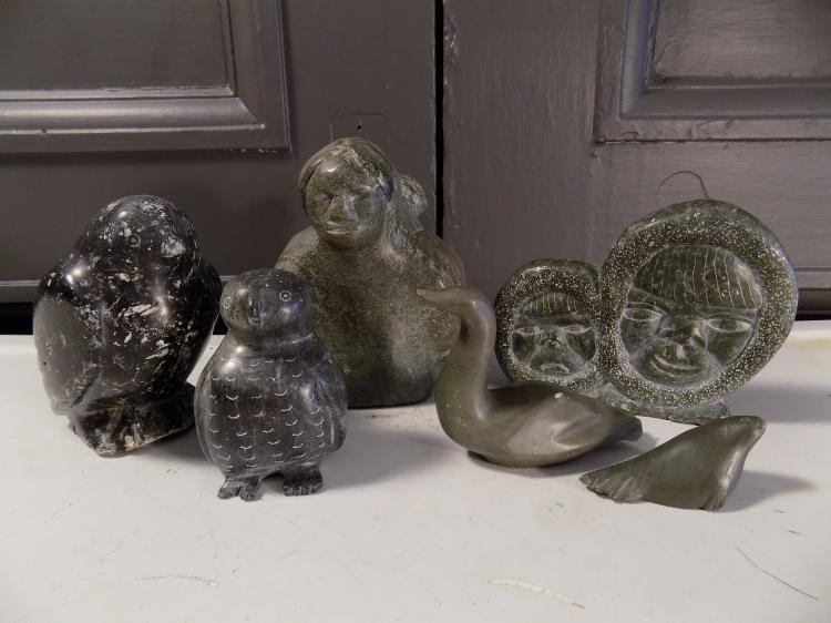 Lot of 6 Inuit Soapstones