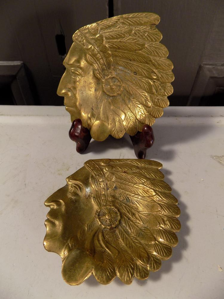 Pair of Brass Indian Chief Head Ashtrays