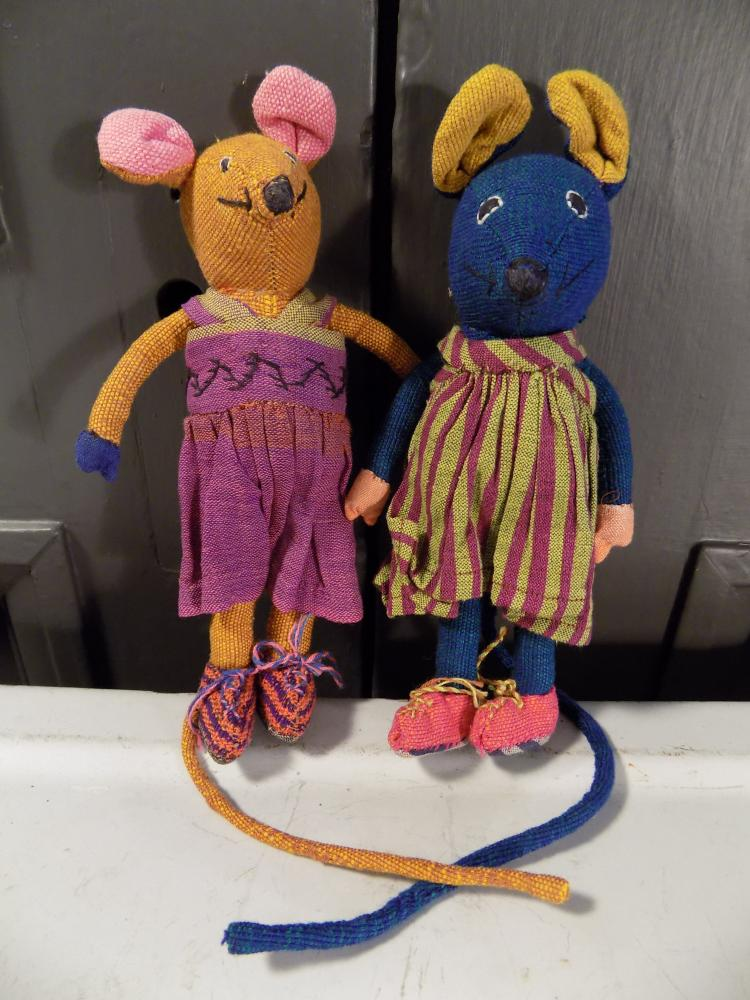 Pair of Handmade Vintage Mouse Dolls