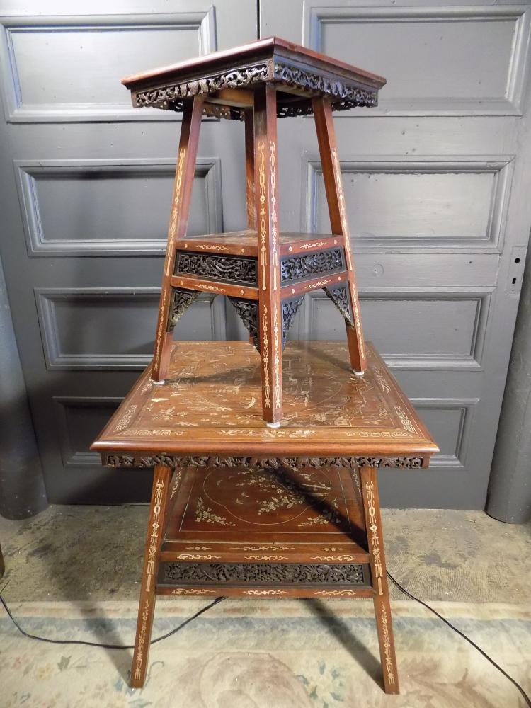 Set of 2 Antique Chinese Inlaid and Carved Tables