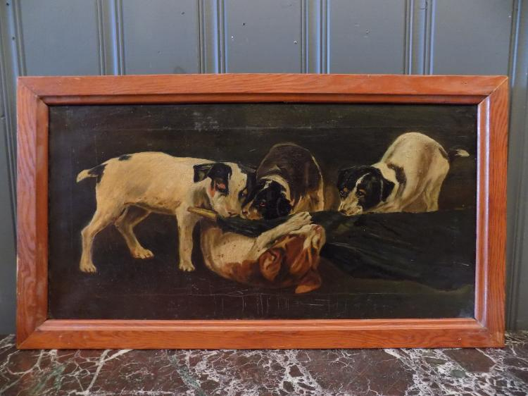 19th Century Oil on Canvas of Puppies