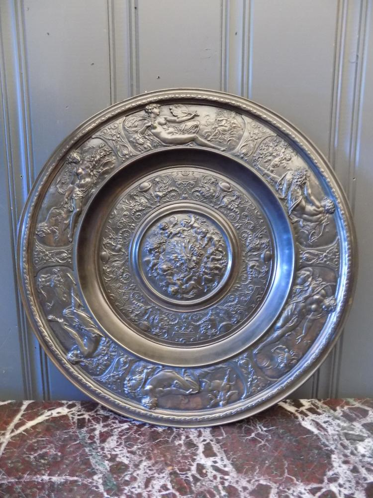 English Bronzed Astrological Cast Platter