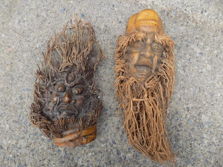 Two Chinese Carved Bamboo Faces