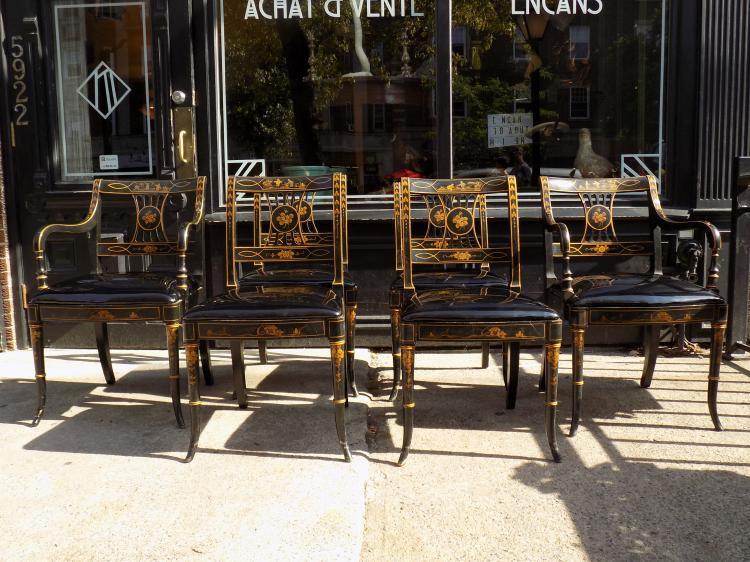 set of 6 japanned dining room chairs