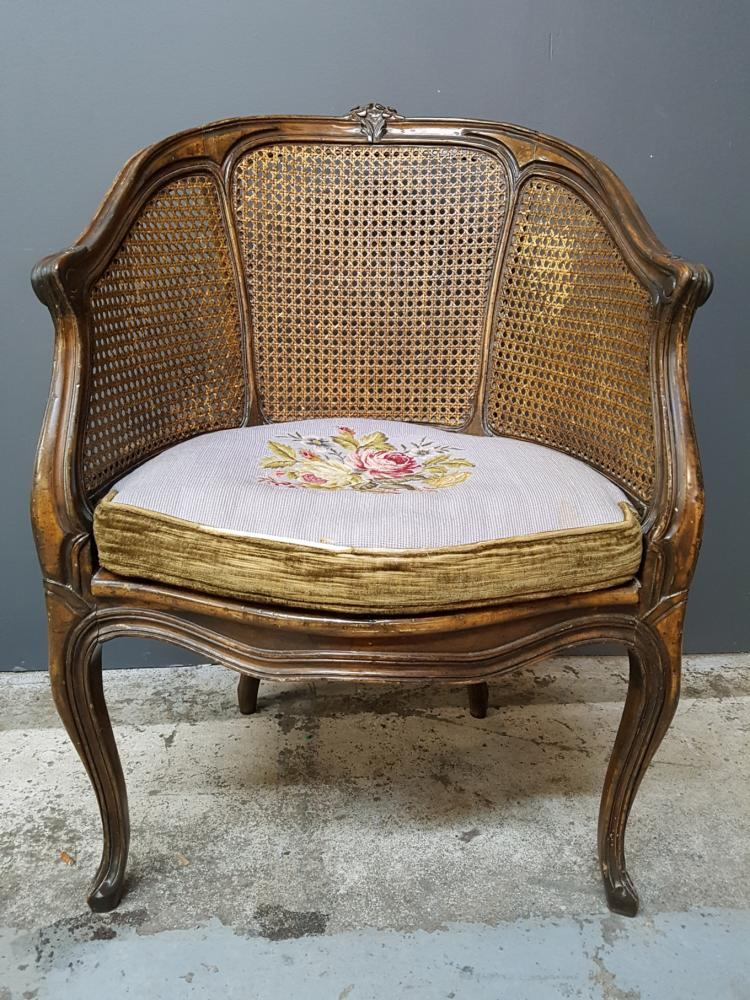 French louis xv styled barrel backed caned bergere armchair for Furniture auctions uk
