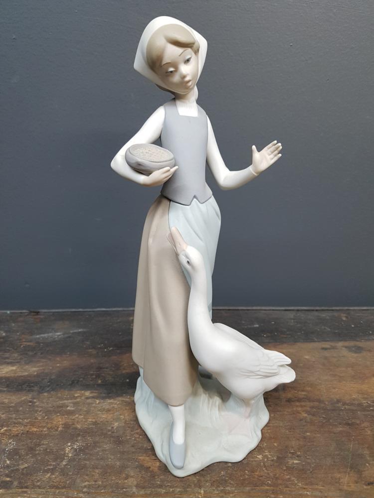 Lladro Girl Feeding Duck Figurine
