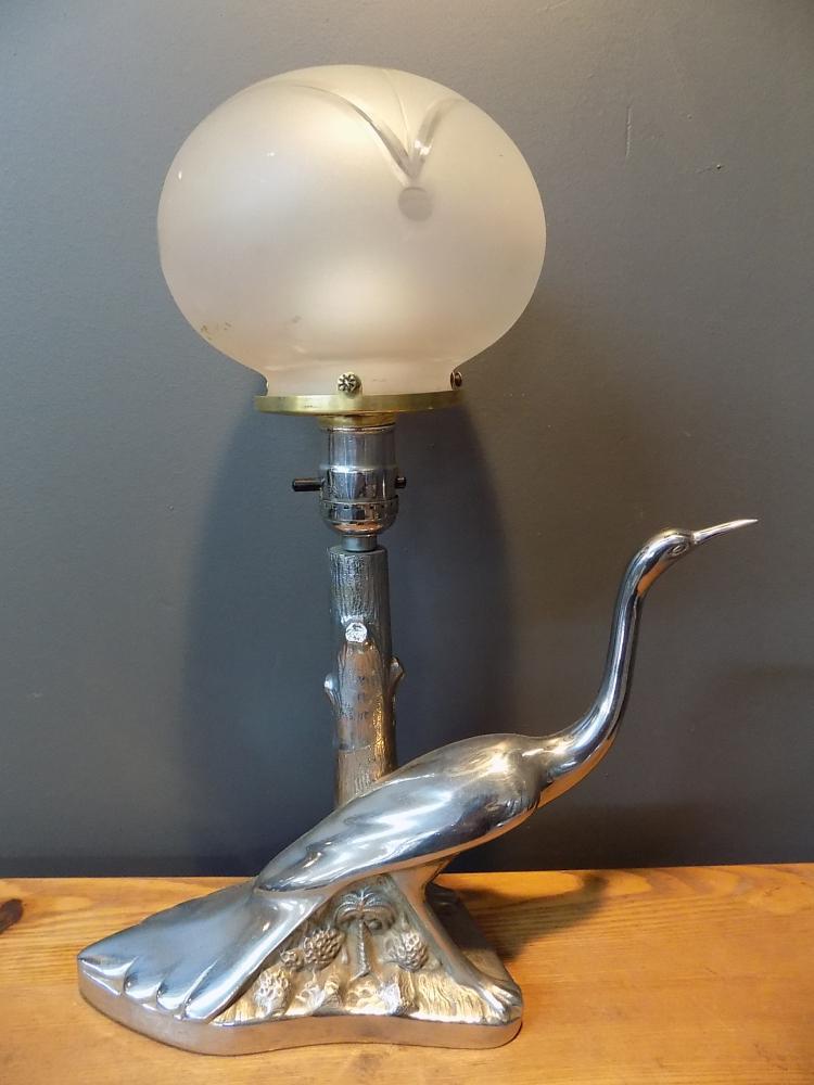art deco chromed crane light with frosted globe. Black Bedroom Furniture Sets. Home Design Ideas
