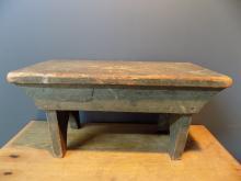 1940s Original Green Paint Hidden Drawer Small Bench