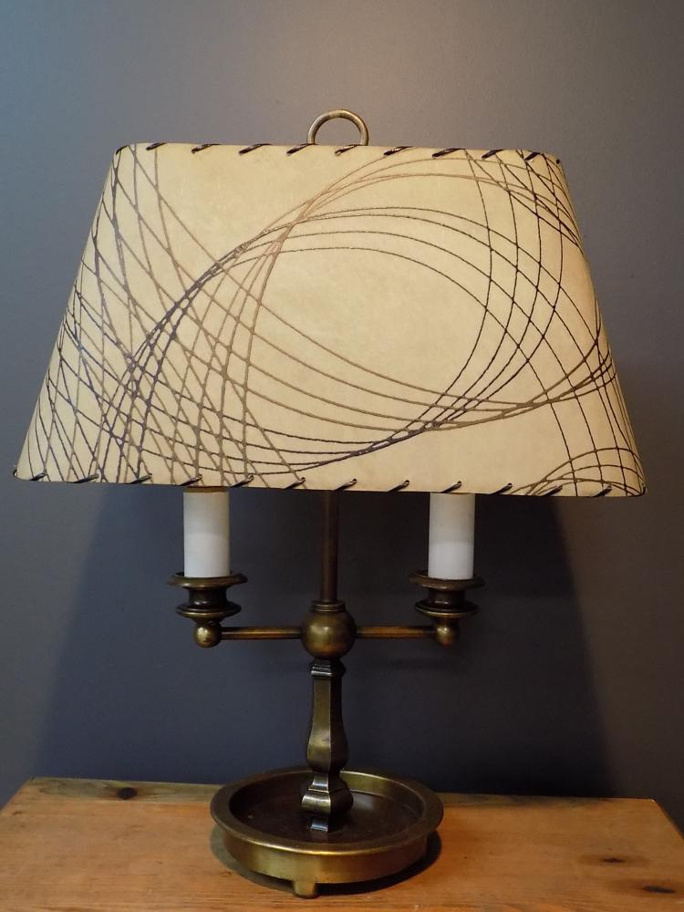 bouillote style lamp with mid century shade. Black Bedroom Furniture Sets. Home Design Ideas