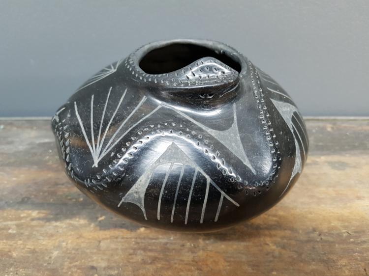 Jose Quezada Mexican Pottery Snake Vase