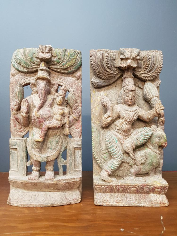Two Indian or Thai Polychrome Carved Wooden Plaques