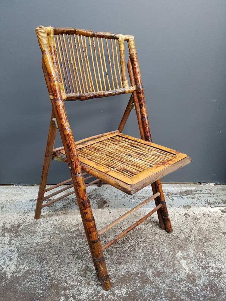 Vintage Folding Bamboo Chair